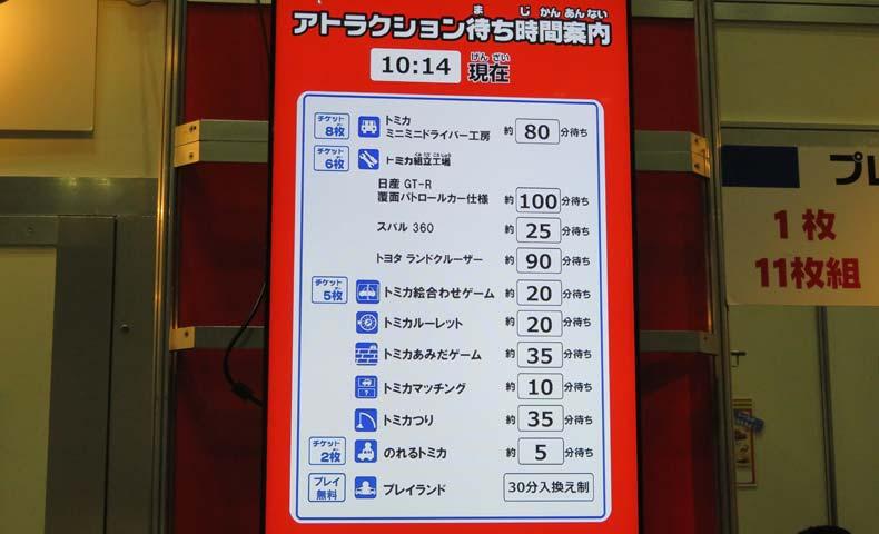 トミカ博2019横浜10:14アトラクション待ち時間
